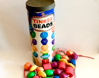 Vintage Tinkertoy,  TINKER BEADS set #300, Wooden Color Beads, Two Red Stripe Cords,  Canister with Lid, Made in USA, Circa 1960s