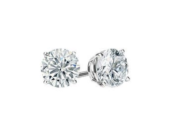 0.50 Carats Ideal Cut Round Brilliant Diamond Studs in 14K White Gold