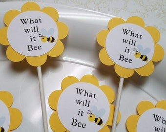 Bee Cupcake Toppers Bumble Baby Shower What Will It