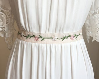 Lt. Sheer Pink Organza Flower Bridal Sash