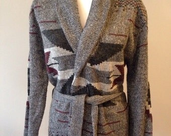 Vintage black ,gray and burgundy tribal print cardigan Size S- M
