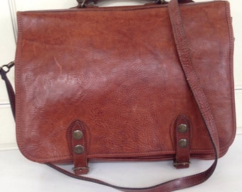 Vintage dark rum leather messenger bag