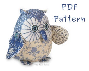 """Twinkle 6"""" Starry-Eyed Owl, PDF Sewing PATTERN & Easy Instructions"""