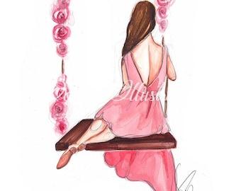 Princess art,  Fashion illustration, Nursery wall art, Princess painting, Nursery art, Nursery decor, Fashion sketch, Girls room art