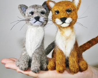 Cat Needle Felting Kit - Cat Felting Kit - DIY Craft Kit - Choose from grey or ginger