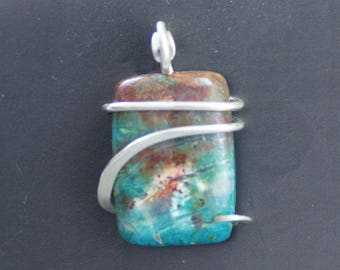 Chrysocolla Smaller Rectangle Cold Forged Sterling Silver Pendant