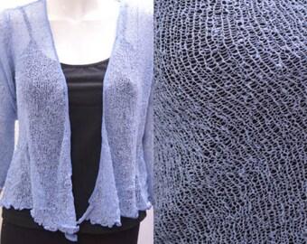 Boho chic crochet style knit shrug cardigan Baby Blue onesize 10 12 14 16 18 20