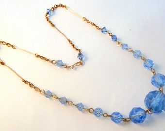 Vintage Art Deco Period Blue Faceted Glass Bead Necklace.