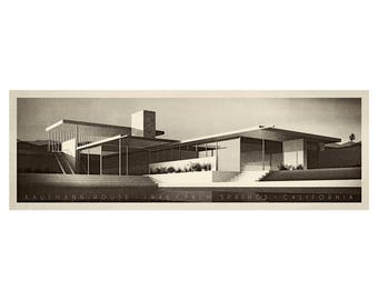 Kaufmann House. Palm Springs. USA. Modern architecture. *Please note, this print requires custom framing, does not fit standard frame sizes