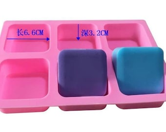 6- cavity Square Soap Mold Silicone Mould For Candy Chocolate Cookie Cake Mold