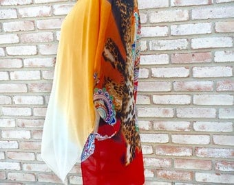 Kimono Cardigan, Lotus Print, Wedding Honeymoon, Bohemian Kimono, Beach Coverup, Summer Outift, Maternity Kimono, Festival Kimono, Boho Chic