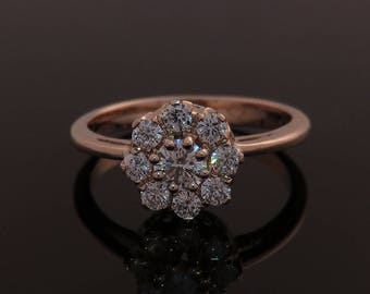 Engagement ring, Rose gold engagement ring,  Diamond engagement ring, Vintage style engagement ring, Classic engagement ring, Cluster ring