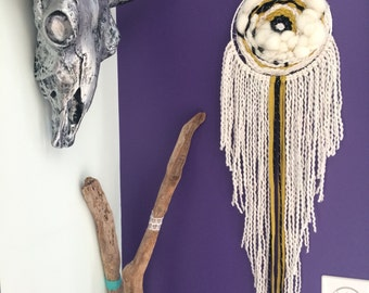 AVAILABLE - Dreamcatcher woven realized by hand in pure wool Merino Wool and Virgin