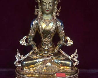 Extremely High Quality Aparmita Buddha Statue Full Gold Plated Handmade in Nepal