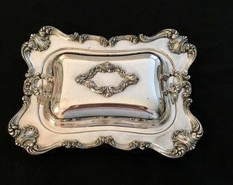 "Silverplate 8 1/2"" Condiment Tray With double-handed lid"