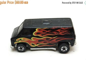 FATHERS DAY SALE Original Hot Wheels Super Van Black w/Flames 1974 Mattel Inc, Hong Kong, Vintage Die-cast Toy Car Collection