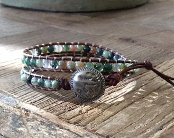 CatMar Beaded Fancy Jasper Wrist Wrap Bracelet on Brown Leather Cord with Button / Loop Closure