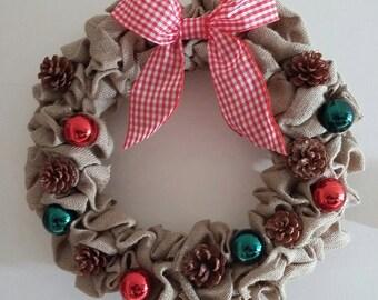 Christmas Wreath,Door Wreath,Christmas,Wreath,Home Decor,Handmade,Baubles,Indoor Wreath,Burlap Wreath,Handmade Wreath,Christmas Ribbon