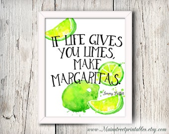Jimmy Buffett Quote, Make Margaritas, Bar Decor, Kitchen Art, Wall Art, Nautical Decor, Bar Art, Limes, Wall Art, Bar Print, Tropical Art