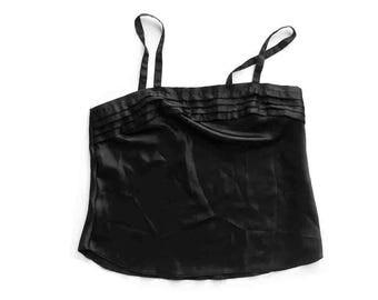 80s Black Pleat Satin Camisole / Sleeveless / Cami / Made in USA