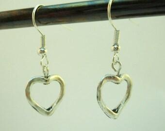 Lovely silver heart shaped earrings