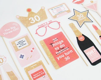 30th Birthday Props, 1987, 30th Photo Booth Props Printable, Pink, Coral, Gold | INSTANT DOWNLOAD