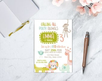 Party Animals Invitation, Zoo Birthday, Animal Theme Birthday, Chalkboard Animal Birthday Invitation, Animal Parade Invitation, DIGITAL FILE