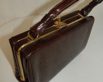 Vintage Brown Box Purse 1950s 60s Box Purse