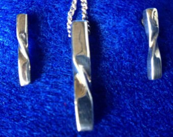 1970s Sterling Silver Necklace & Earrings