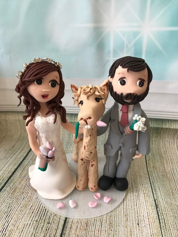 Wedding cake Topper with llama/Alpaca - Fully Personalised a lovely keepsake - Bride and Groom/Same Sex/Wedding couple