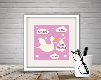 Personalised Baby Stork Print