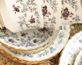 """The most pretty tea set for Summer high teas ! Made by Royal Stafford . Pattern is """" Enchanting """" and thats what it is !"""