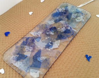 Contemporary One of A Kind Indigo White Wall Hanger, Fused Glass Plaque, Home Decor, Ornament and Accents, Dawn Jackson Glass Designs