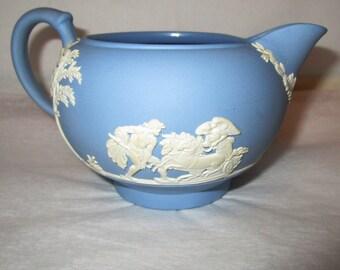 Vintage WEDGWOOD Blue & White CREAMER Cream Pitcher Tea Coffee GLAZED Jasperware Wedgewood Made in England Angels Chariot Neoclassical