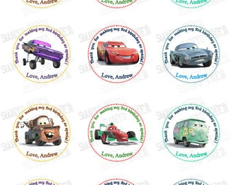 """Customized Disney Cars Printable Tags-Personalized Tags, DIY (You Print) 2"""" Thank you Tags"""