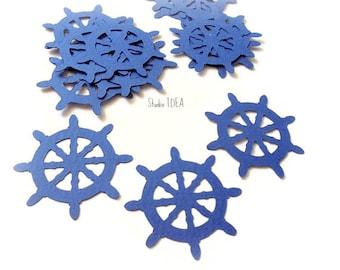 40 Navy blue Ship Wheel Cut outs, Die cut, Confetti, Embellishments or CHOOSE YOUR COLORS - Set of 40 pcs