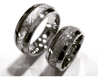 Matching Wedding Bands Meteorite Inlay Rings His And Her Engagement Ring Engagement Gift