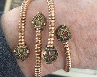 Sale! Antique Victorian Gold-Filled Etruscan Revival Coil Bypass 2 Bracelets Cuffs Set Red Stone