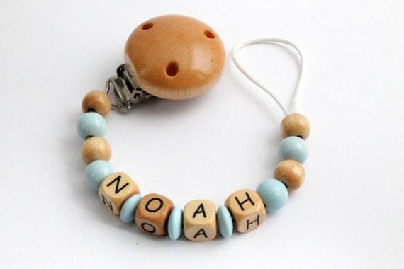 Attache t tine attache sucette perles en bois avec - Perle en bois pour attache tetine ...