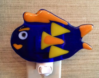 Fused Glass Whimsical Blue Fish Night Light