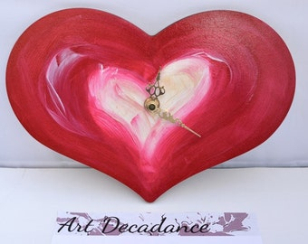 Hot Cherry Pink Heart Wall Clock - Secret night glow! Hand Painted Wood Non-Tick Cute pink gift, Bedroom Decor, Glow in the dark wall clock