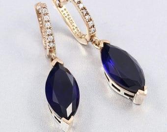 Ottoman Handmade Jewelry Blue Sapphire 925 Sterling Silver Drop Dangle Earrings(n37-3a)
