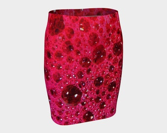 PINK BUBBLES Fitted Skirt A-Line Photo/Pink/S-M-L-XL/Fashion/Stretchy/Wearable Art/A-Line/Clothes/Clothing/Women/Teen/Skirts