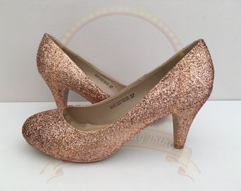 Rose Gold Glitter Shoes - Copper Glitter - Mid Heel - Bridal - Wedding Shoes - Bridesmaid - Prom - Party - Customised Shoes - UK Size 3-8