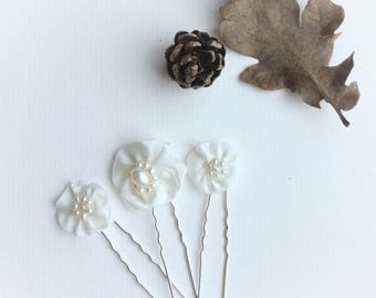 Pearl hair pins, ivory flower bridal hair pins, wedding accessories, freshwater pearls and fabric flowers, set of 3 hairpins