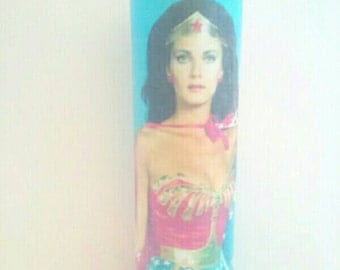 Wonder Woman Glass Container Candle, Wonder Woman, Glass Candle, Super Hero Candle, Container Candle, Made By Mod.