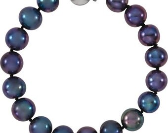 Lovely Sterling Silver Freshwater Cultured Black Pearl 7.75 inch Bracelet, 10-11 mm Pearls