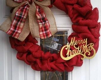 Rustic Merry Christmas Wreath- Red Burlap Wreath- Merry Christmas Burlap Wreath