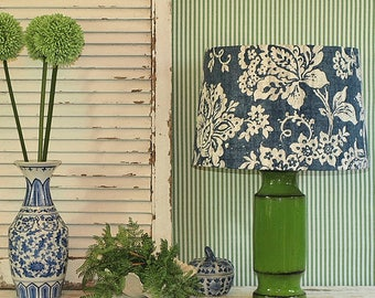 Large Australian Made Lamp Shade Blue, White and Grey, Floral Tapered Drum, 2 Sizes, 2 Fittings, Made to Order 1-2 weeks