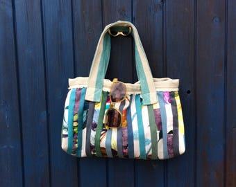 Striped rose patchwork handbag